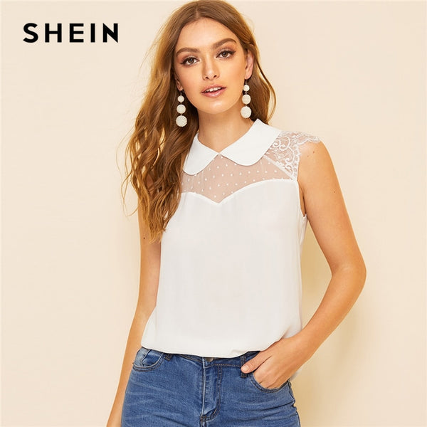 a855ea1727c SHEIN Office White Pink Mesh and Lace Insert Shoulder Peter Pan Collar Top  Solid Blouse Women