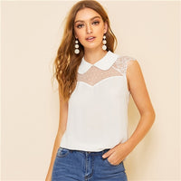 SHEIN Office White Pink Mesh and Lace Insert Shoulder Peter Pan Collar Top Solid Blouse Women Summer Sleeveless Elegant Blouses - ibspot