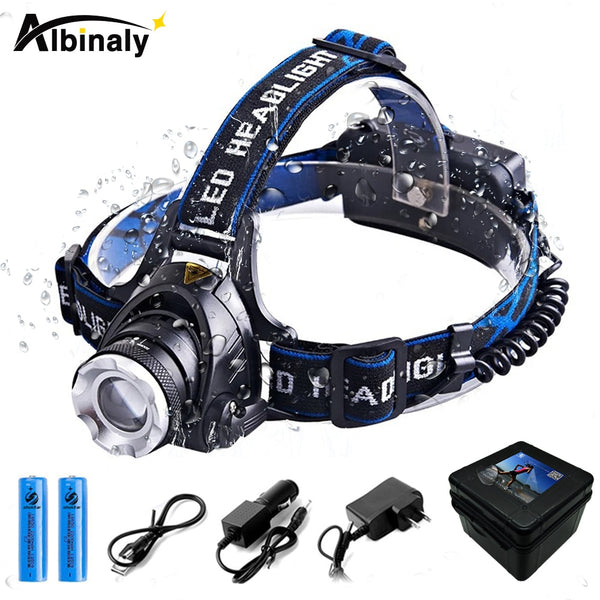 Super bright Waterproof Zoom in/out LED Headlamp for Fishing  and Hunting - ibspot