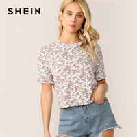 SHEIN Roll-Up Cuff Ditsy Floral T Shirt Women Summer Casual Short Sleeve Round Neck Crop Top Ladies Streetwear Cute Tshirt - ibspot