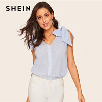 SHEIN Blue Casual Bow Knot Shoulder Button Up Striped Women Blouse Summer Boho V Neck Sleeveless Womens Tops And Blouses - ibspot