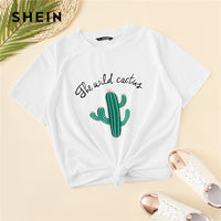 SHEIN White Cactus and Letter Print Top Casual T Shirt Women 2019 Summer Short Sleeve Round Neck Stretchy Basics Cute Tshirts