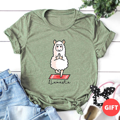 Women Print T-shirt 100% cotton with cute lamb plus size - ibspot