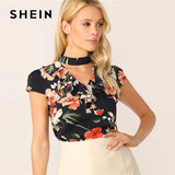 SHEIN Choker Neck Ruffle Trim Floral Blouse Ladies Tops Summer Boho Casual V Cut Out Neck Short Sleeve Women Tops And Blouses