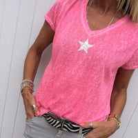 Women Short Sleeve V Neck Loose Tops Casual T Shirts Basic Tops Pentagram Bamboo Fiber Knitted - ibspot