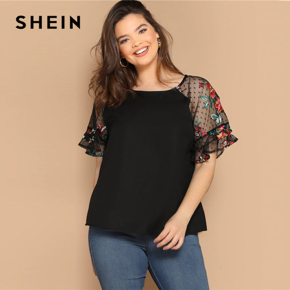 SHEIN Plus Size Black Flower Embroidery Mesh Sleeve Top Blouse Women Summer Elegant Short Sleeve Sheer Solid Round Neck Blouses - ibspot