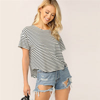 SHEIN Casual Drop Shoulder Striped Tshirt Women Summer Basic Round Neck Short Sleeve Curved Hem Streetwear Tshirt Ladies Tops - ibspot