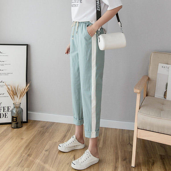 Cotton Linen Ankle Length Pants Women's Spring Summer Casual Trousers Pencil Casual Pants Striped Women's Trousers Green Pink