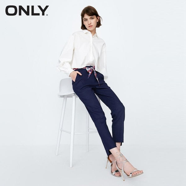 ONLY   Flex tie-up cropped straight casual pants female |11836J502