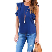 Women Chiffon Blouse Fashion Summer Sexy O Neck Sleeveless Ruffle Shirts Casual Slim Solid Blusas Plus Size Tee Tops