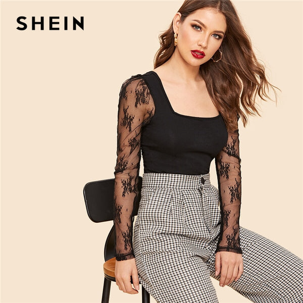 SHEIN Retro Black Knot Back Embroidery Mesh Sleeve Fitted Top T Shirt Women Summer Square Neck Solid Office Lady Elegant Tshirts - ibspot