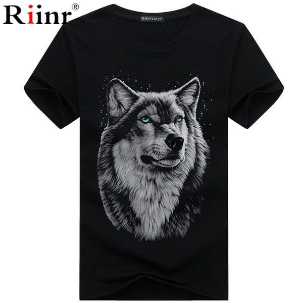 Men's clothing T-Shirt White T shirt Casual Cotton Wolf Printed Cartoon Short Sleeve Tee Shirt Men Brand Tee shirt 5XL - ibspot