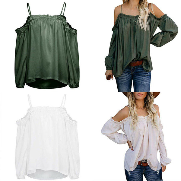 Womens Off Shoulder Sexy Strapless Top Ladies Frill Crop Tops Vest Shirt - ibspot