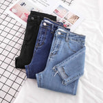 New Skinny Pencil Jeans Female Denim Pants Women Blue Pants Ripped Stretch Waist Women Ankle Length Slim Jeans Pants Plus Size - ibspot