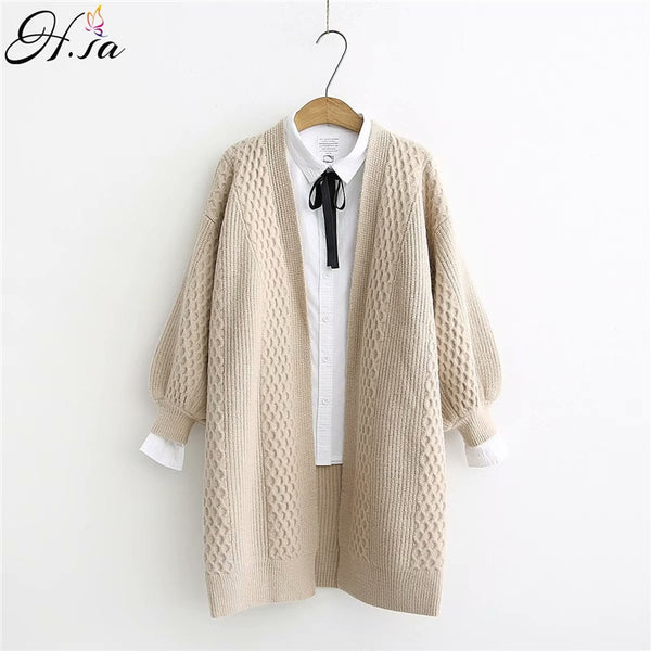 H.SA Women Lantern Sleeve Open Stitch Loose Knit Coat Cardigan - ibspot