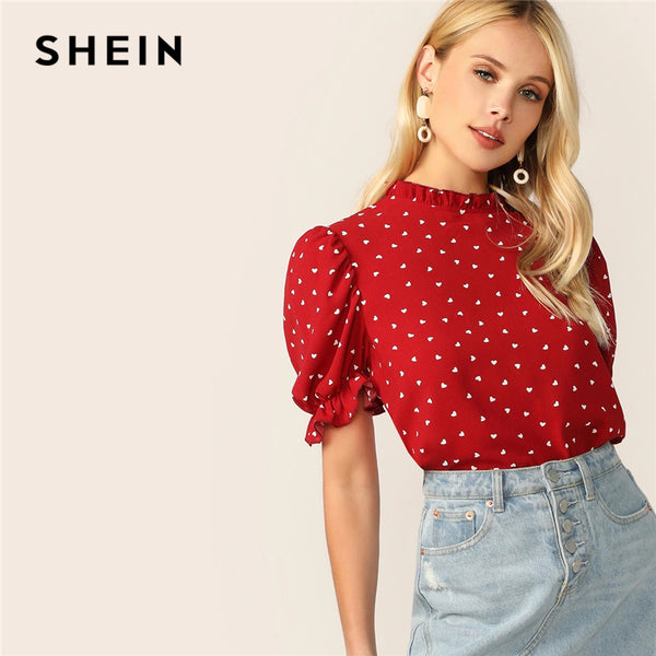 SHEIN Frilled Neck Puff Sleeve Confetti Heart Print Top Red Stand Collar Short Sleeve Blouse Elegant Women Summer Blouses - ibspot