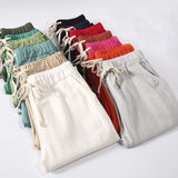 Candy Colors Summer Pants Women Lace Up Pantalon Femme Cotton Linen Sweatpants Casual Harem Pants Women Ladies Trousers C5212 - ibspot