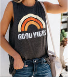 Women's Round Neck Rainbow Letter GOOD VIBES Printing Casual Vest Aesthetic Clothing Female Harajuku Graphic Popular Tank Tops - ibspot