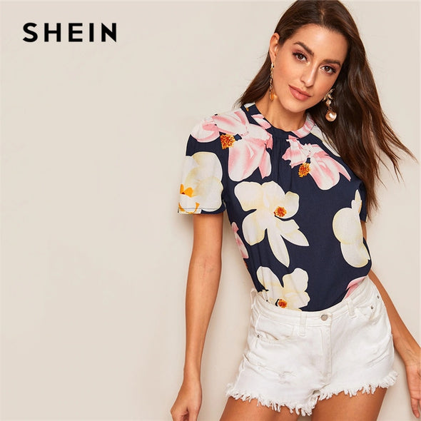 SHEIN Floral Print Crinkle Detail Top Navy Short Sleeve Round Neck Summer Blouse 2019 New Basic Boho Women Clothes Blouses - ibspot