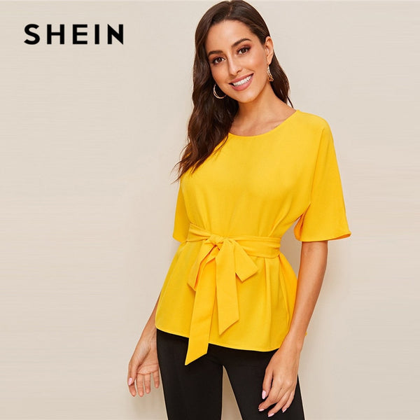 SHEIN Bright Yellow Half Sleeve Self Belted Blouse Women Tops Summer Casual Solid Round Neck Blouse Office Lady Basic Tops - ibspot
