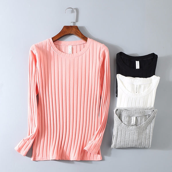 Women Spring Ribbed Striped Elastic T Shirt for Women Top Casual with Long Sleeve Shirt Cotton T-Shirts Tops Knitted Plus Size - ibspot