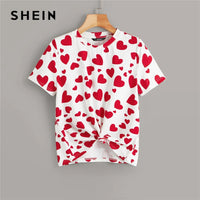 SHEIN Casual Multicolor Allover Heart Print Tee Summer T Shirt Women 2019 Round Neck Stretchy Basics Cute Tshirt Tops - ibspot