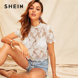 SHEIN Keyhole Back Guipure Lace Blouse Without Bra Women Clothes 2019 Summer Sexy Sheer White Blouse Crop Solid Ladies Tops - ibspot