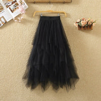 Women irregular Tulle Skirts Fashion Elastic High Waist Mesh Tutu Skirt Pleated Long Skirts Midi Skirt Saias Faldas Jupe Femmle - ibspot