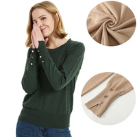 Women Basic Sweater With Buttons Long Sleeve Ribbed Trim O-Neck pullover Woman Tops Knit sweaters women clothes - ibspot