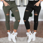 S-4XL New Cotton Casual Pants Pencil Pants Wild European and American Popular Women's Jeans Leggings Hole - ibspot