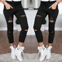 S-4XL New Cotton Casual Pants Pencil Pants Wild European and American Popular Women's Jeans Leggings Hole