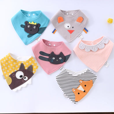 Cute Watrproof Soft Triangle Baby Cotton Bibs for Feeding Baby Newborn Burp Cloths - ibspot