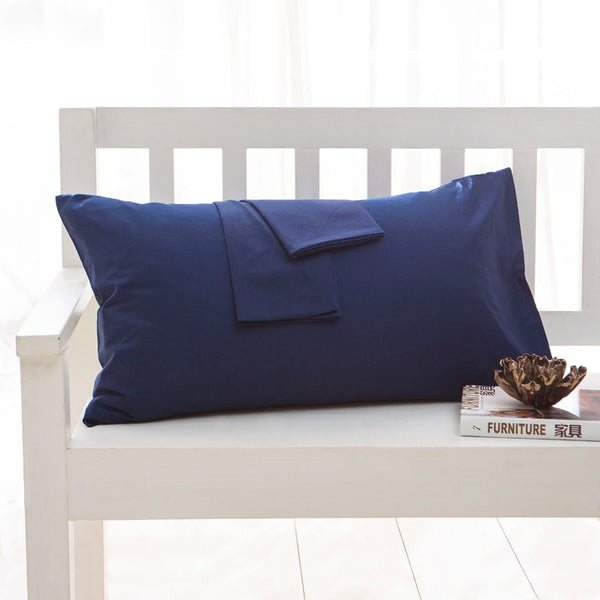 Solid Color Pillowcase 100% Cotton One Pair Diagonal Printing Brief Style - ibspot