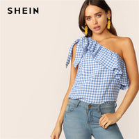 SHEIN Gingham One Shoulder Ruffle Overlay Top Blue Sleeveless Asymmetrical Blouse Women 2019 Summer Tops and Blouses - ibspot