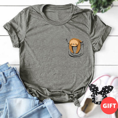 Women oversize 100% Cotton Casual Summer Print T-shirt with Multi-colored Lazy Sloth Cartoon crop - ibspot