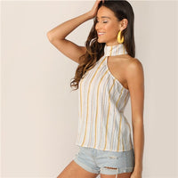SHEIN Multicolor Keyhole Back Striped Halter Top Sleeveless Blouse Women 2019 Summer Elegant Workwear Tops and Blouses - ibspot