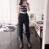 Women Vintage High Waist Chain Cargo Baggy Pants Plus Size - ibspot