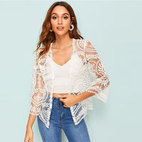 SHEIN Embroidered Mesh Beach Kimono Cardigan Summer Vacation Sexy White Sheer Kimono Three Quarter Length Sleeve Ladies Tops - ibspot