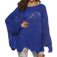 Womens Knitted Sweater Pullover Plus Size Long sleeve Cloak Winter Hook Flowers Sweater Solid Color Women Loose Shawl - ibspot