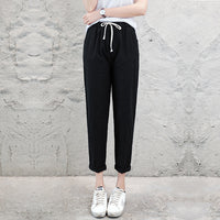 Brand Chic Loose Cotton Linen Pants Women Soft Harem Pants Breathable Slim Ankle Length Pants Korean Leisure Hallen Pants Black - ibspot