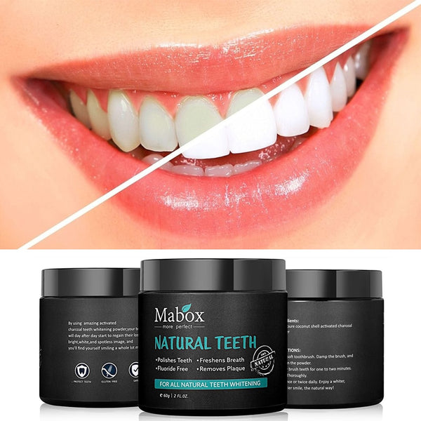 MABOXTeeth Whitening Oral Care Charcoal Powder Natural Activated Charcoal Teeth Whitener Powder Oral Hygiene clean Remove breath