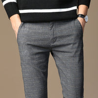 Men Spring And Summer Casual Pants with Striped Micro Elastic Straight Trousers