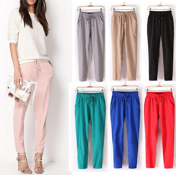 Puimentiua Women Casual Harem Pants Loose Trousers Women Elastic High Waist Casual Pants Office OL Pants Lady Pants 2019 Summer - ibspot