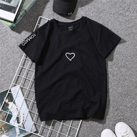 Women Summer Couples Lovers T-Shirt for Lady Student as Casual White Tops with Love Heart Embroidery Print - ibspot