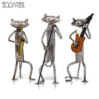 Tooarts Metal A Playing Guitar Saxophone Singing Cat  for Home Decoration - ibspot