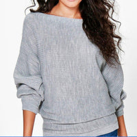 Women Casual Sweaters Autumn Winter Sweater Loose Long Batwing Sleeve Solid Pullovers Woman Female Thin Sweater Jumper Lady - ibspot