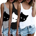 Summer Women Sleeveless Cat T-shirt Loose Ladies Print Vest Black White Grey Tank Tops Casual Crew Neck - ibspot