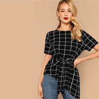 SHEIN Asymmetrical Hem Belted Grid Summer Blouse Women Clothes 2019 OL Elegant Short Sleeve Round Neck Blouse Ladies Tops - ibspot