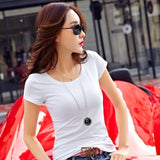 Women Cotton T-shirt Black V-Neck Short Sleeve Female Tee Slim White - ibspot