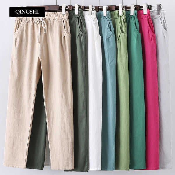 13 Colors Womens Pants New Cotton Linen Summer Pants Trousers Elastic High Waist Korean Capris Lightweight Harem Pants Plus Size - ibspot